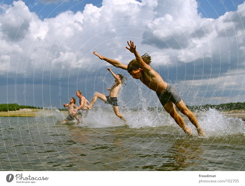 ready to take off Action Germany Summer Jump Inject Lake Beach Physics Clouds Joy Swimming & Bathing froodmat Water Warmth Sky