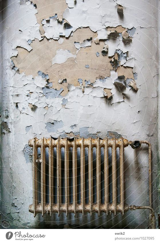 boiler room Heater Heating pipe Wall (barrier) Wall (building) Facade Metal Old Threat Creepy Broken Trashy Poverty Disaster Apocalyptic sentiment Decline Past