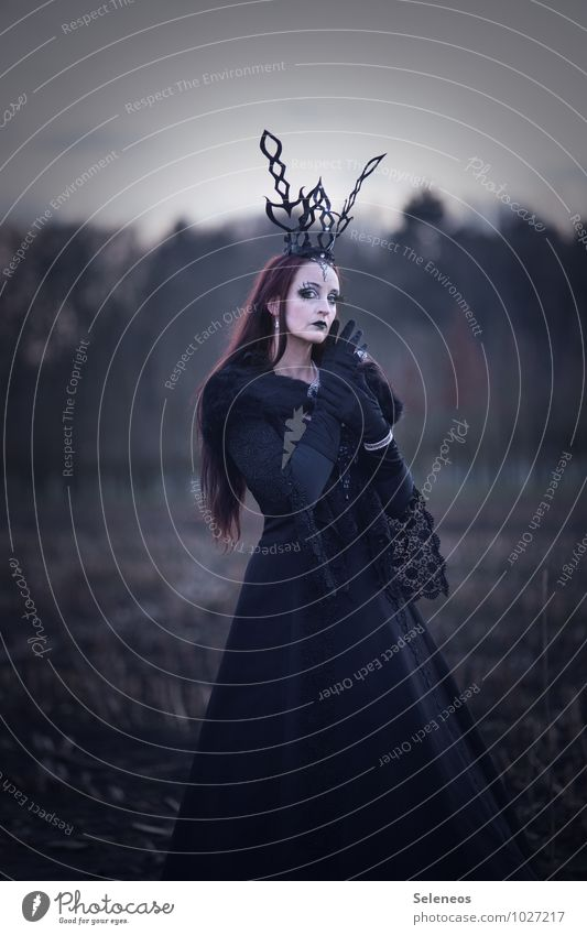 . Carnival Hallowe'en Human being Feminine 1 Autumn Field Dress Red-haired Long-haired Dark Gothic style Victorian style Lace Black Colour photo Subdued colour