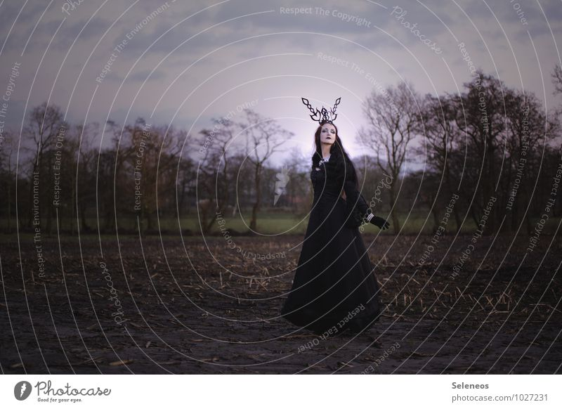 Human being Woman Nature Landscape Dark Adults Environment Autumn Feminine Field Carnival Hallowe'en Subculture