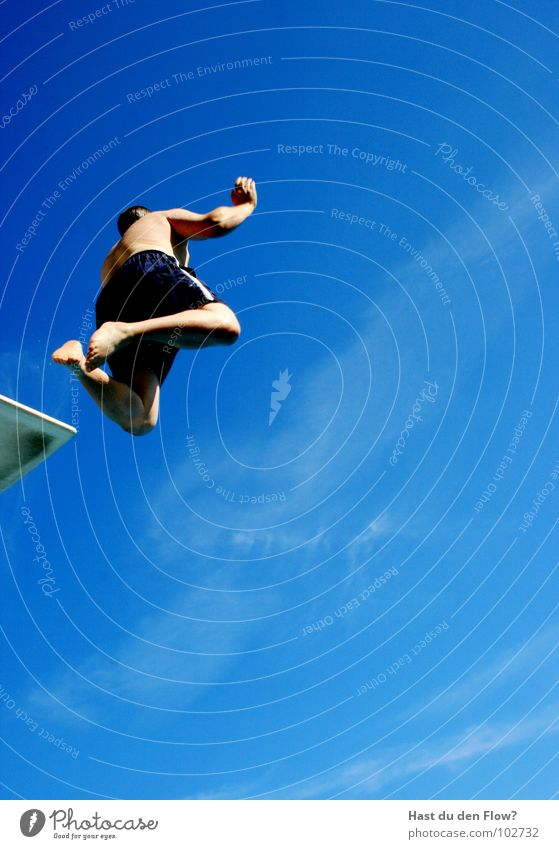 jump tower forward Man Swimming pool Jump Springboard Summer Open-air swimming pool Waves Clouds Vacation & Travel Vacation mood Euphoria Brave Trust Reckless