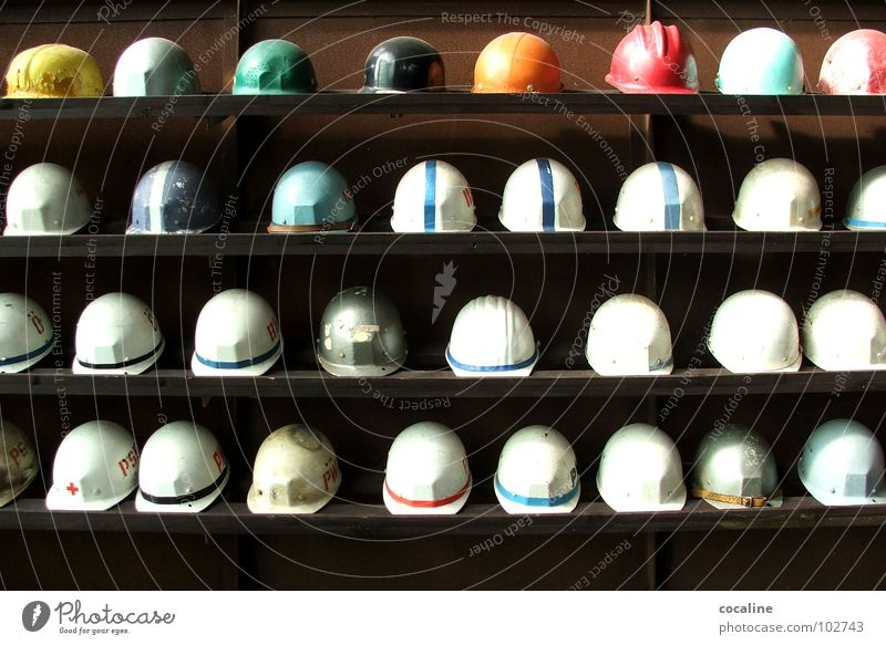 Work and employment Working man Industry Multiple Construction site Protection Profession Hat Row Many Collection Construction worker Helmet Shelves Mining