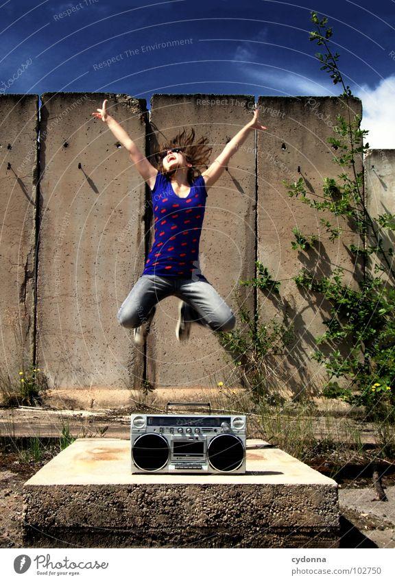 Woman Human being Nature Summer Joy Loneliness Colour Landscape Emotions Movement Jump Style Party Music Concrete Action