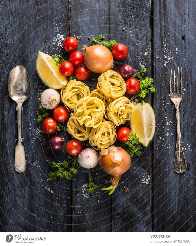 Pasta tagliatelle with vegetables and cutlery Food Vegetable Dough Baked goods Herbs and spices Nutrition Lunch Banquet Organic produce Vegetarian diet Diet