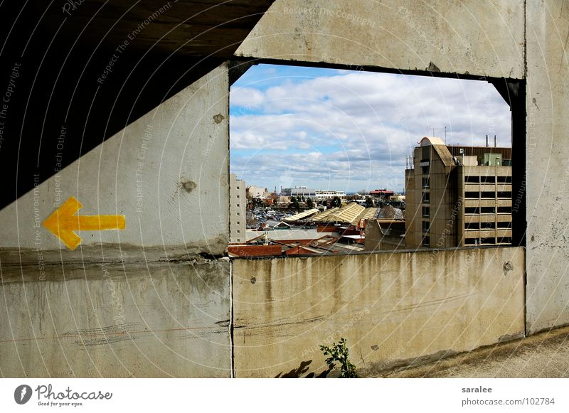 outlook Vantage point Window Concrete Wall (building) Clouds Yellow Gray Australia Looking Arrow Sky Blue