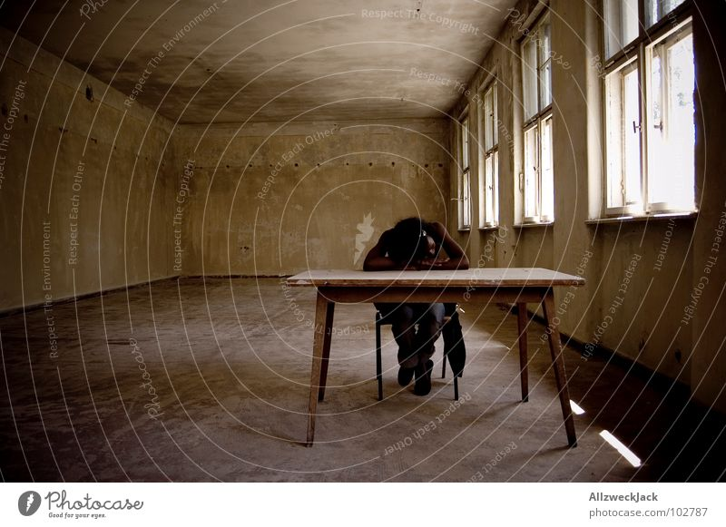 Woman Human being Relaxation School Room Arm Sit Table Study Sleep Empty School building Chair Education Fatigue Boredom