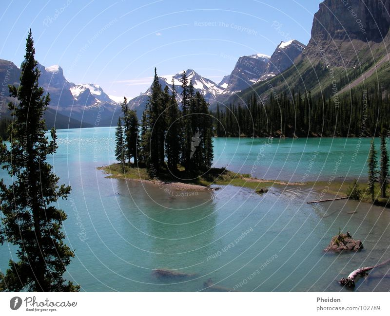 Nature Forest Mountain Lake Canada Alberta Spirit Island