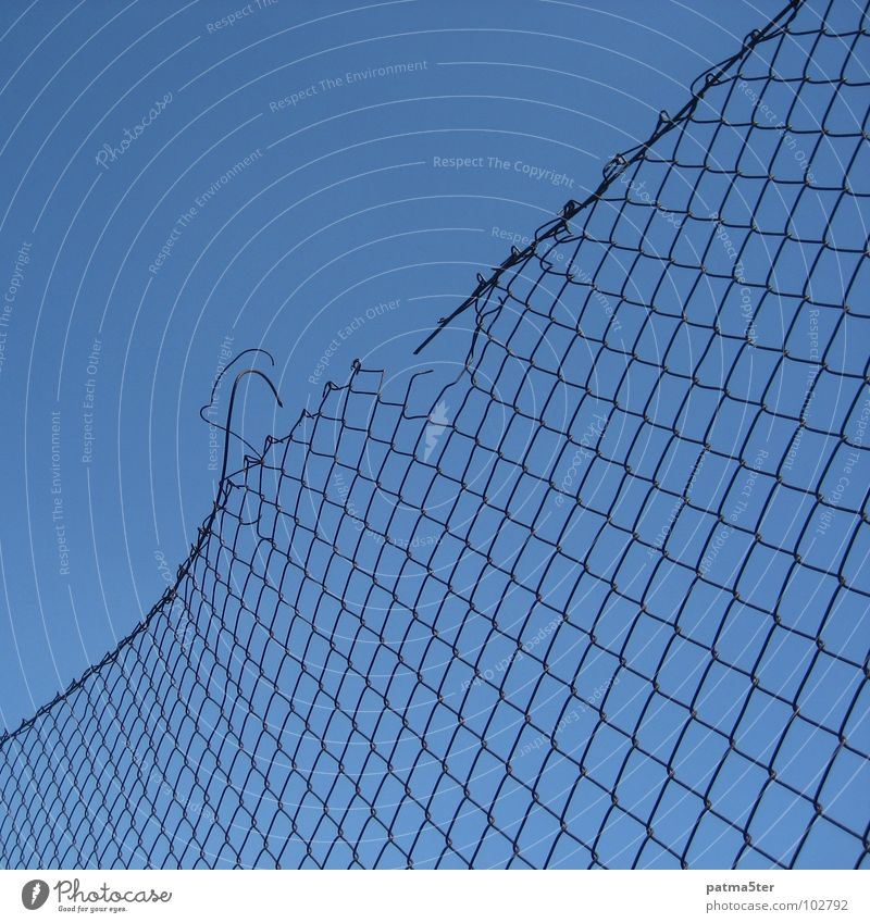 broken Wire mesh Fence Broken Detail Sky Blue Destruction decrepit