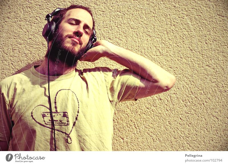 Man Head Dream Music Cable T-shirt Concert Listening Facial hair Headphones Tone Sound Stereo