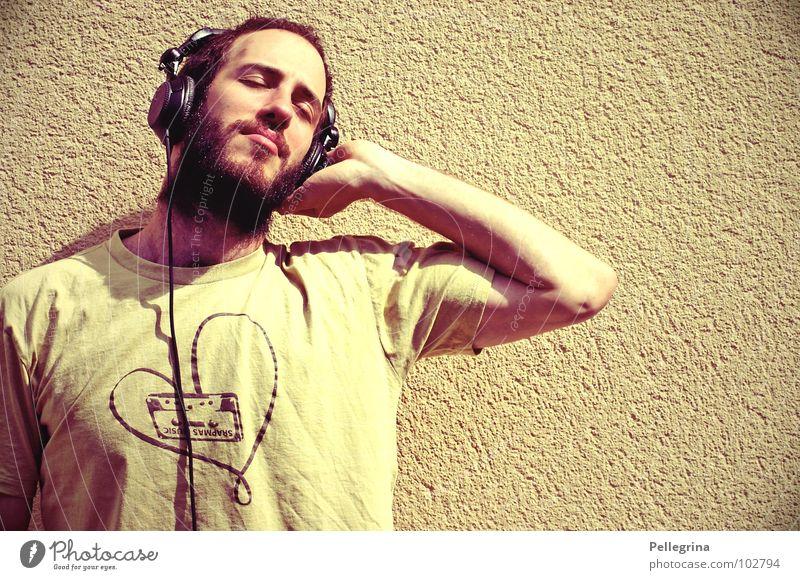Man Head Dream Music Cable T-shirt Concert Listening Facial hair Headphones Tone Sound Stereo