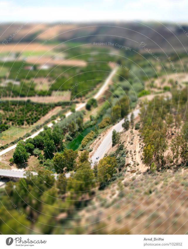 Summer Street Landscape Small Europe Surrealism Miniature Tilt-Shift Andalucia