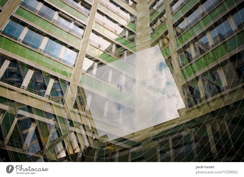 open minded Functionalism Clouds Downtown Berlin Office building Backyard Facade Window Stripe Rectangle Geometry Sharp-edged Modern Green Acceptance Flexible