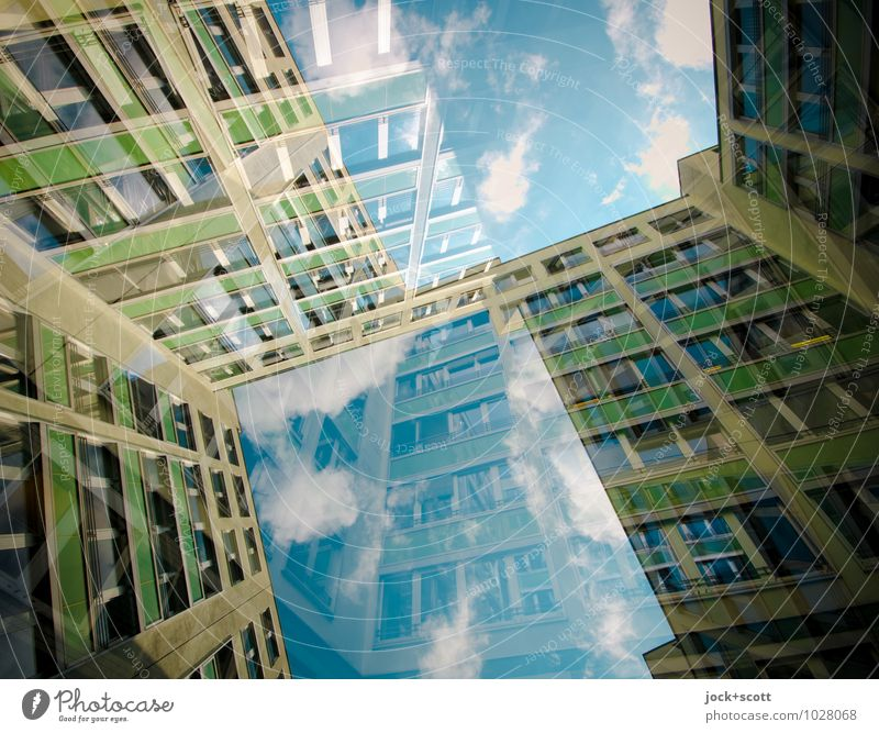 Window to the courtyard Clouds Office building Facade Backyard Sharp-edged great Modern Innovative Inspiration Complex Perspective Irritation Double exposure