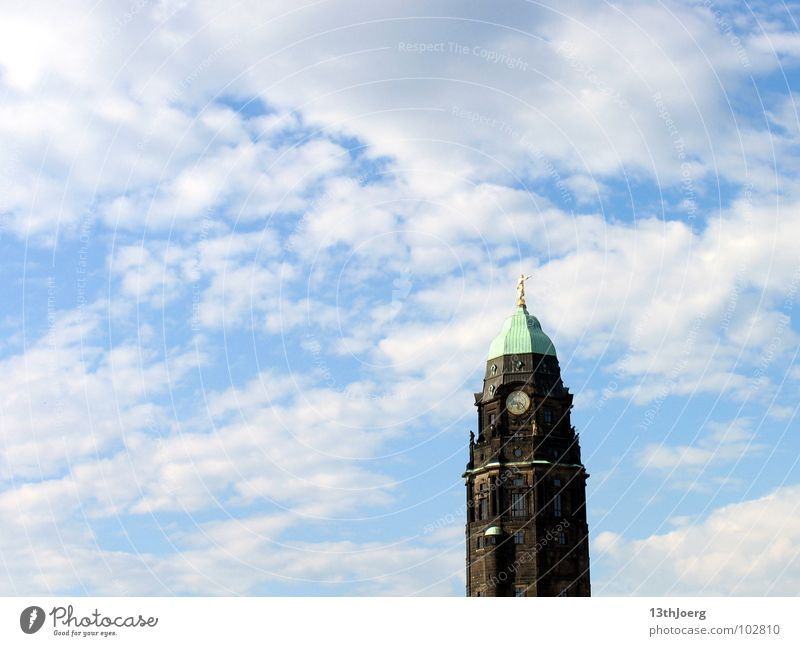 Sky Clouds Gold Tall Tower Symbols and metaphors Dresden Monument Statue Direction Landmark Upward Capital city Saxony City hall Republic