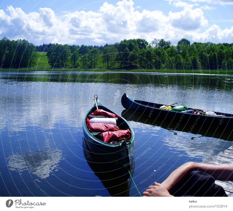 SILENT WATER Canoe Canoe trip Lake-plateau Clouds Break Reflection Forest Calm Beautiful Footbridge Dream Concentrate Serene Poland Masuria 14 days Nature Water