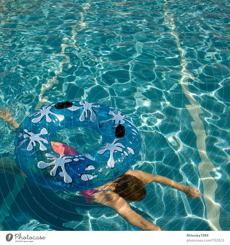 Woman Blue Water Vacation & Travel Summer Joy Warmth Swimming & Bathing Leisure and hobbies Swimming pool Italy Physics Hot Dive Float in the water Harmonious