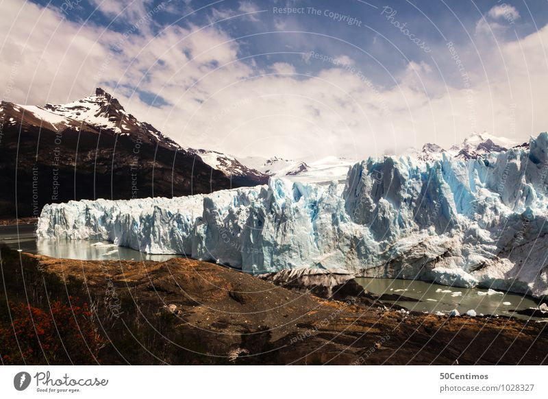 Glacier Perito Moreno in Patagonia of Argentina Vacation & Travel Tourism Trip Far-off places Environment Nature Landscape Ice Frost Mountain Lakeside Adventure