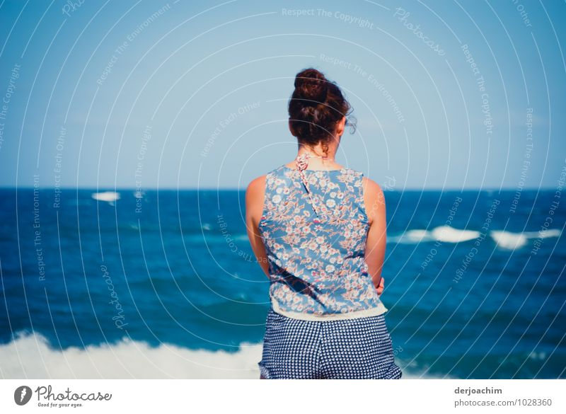 Girl stands at the ocean and watches the waves. , Thoughts deeper than the Ocean Feminine Young woman Youth (Young adults) 1 Human being 18 - 30 years Adults