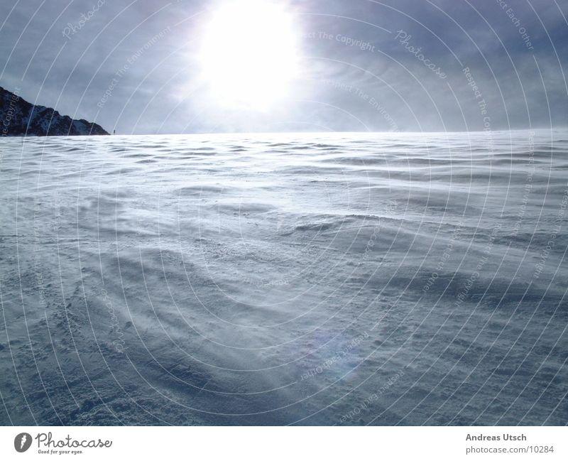 Human being Blue Sun Winter Snow Mountain Bright Waves Wind Empty Progress