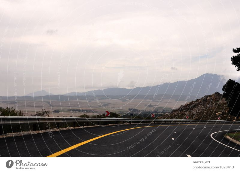 South curve in South Africa Landscape Sky Bad weather Rain Transport Traffic infrastructure Road traffic Street Country road Tilt Curve Driving Dark