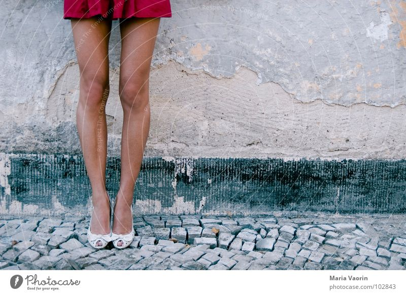 Woman Legs Cobblestones Blow Attempt Tourist Skirt Footwear High heels Alluring Mini skirt Moral Fetishism