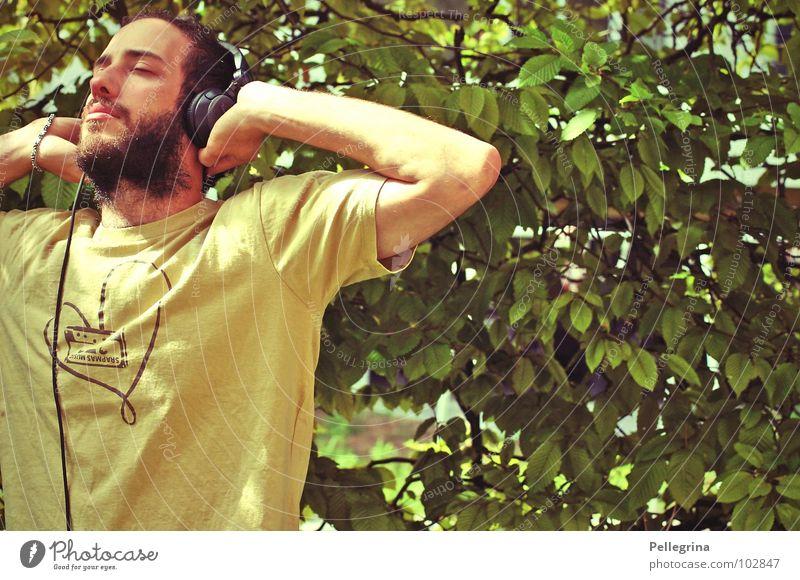 HeadPhoneLove2 Stereo Headphones Bushes Man Facial hair Listening Concert Music Tone beautiful man :) Heart T-shirt no axel welding