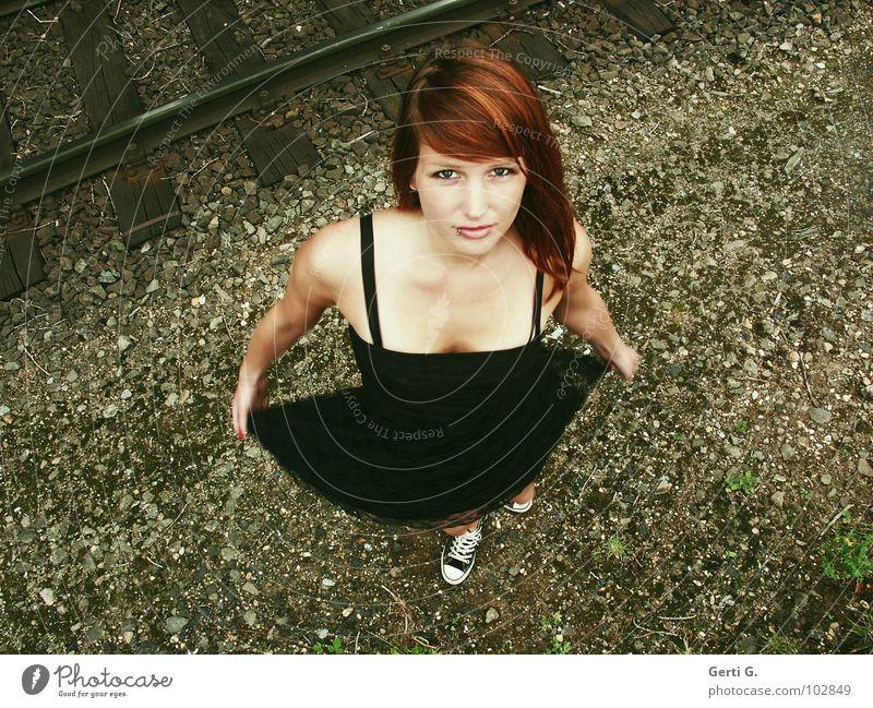 turn around Woman Young woman Dress Mini dress Brown Black Tulle Short Little black dress Red-haired Beautiful Friendliness Low neckline Insight Chucks Footwear