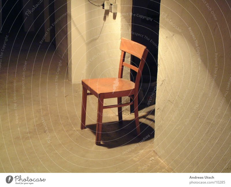 chair Cellar Dark Light Lighting Beige Lamp Switch Brown Passage Empty Living or residing Shadow Chair Door Cellar door