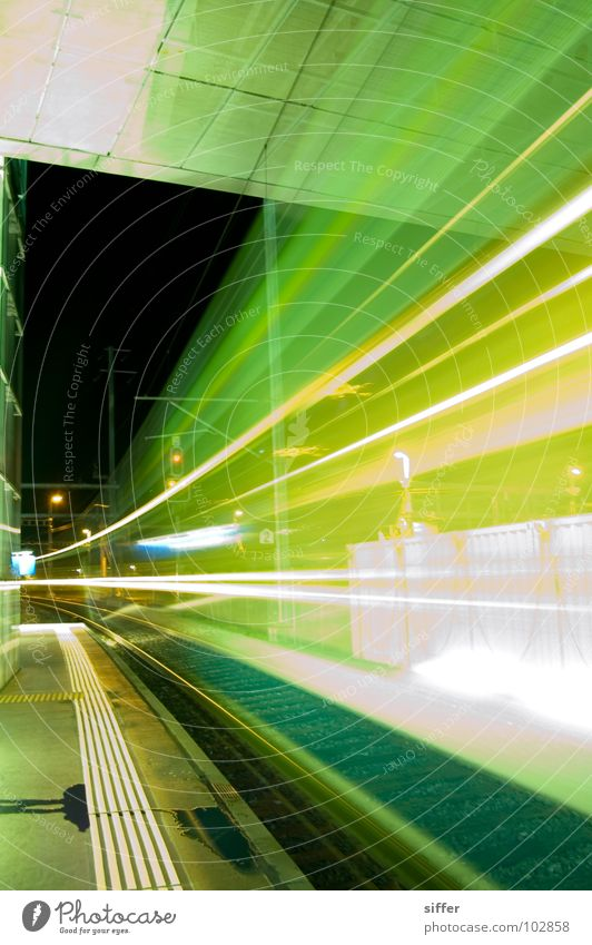 Ghost train Railroad Railroad tracks Speed Time Light Long exposure Green Yellow White Bern-Solothurn regional transport Dangerous Driving Train station Tunnel