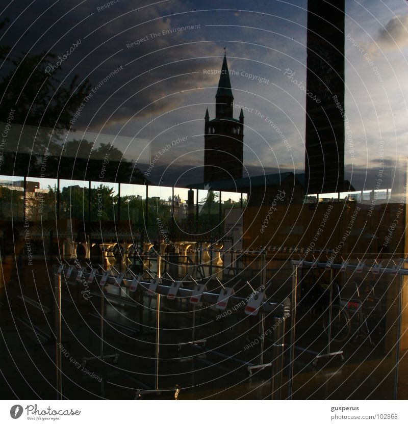 clouds {REICH} Reflection Dream Checkmark Superimposed Captain Hook Photographic technology House of worship Berlin leave church in village Clothing Sky