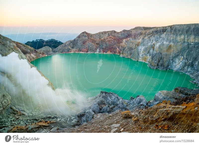Kawah Ijen crater Vacation & Travel Tourism Man Adults Nature Landscape Clouds Fog Rock Volcano Lake Blue Yellow Dangerous Indonesia Volcanic crater Java ijen