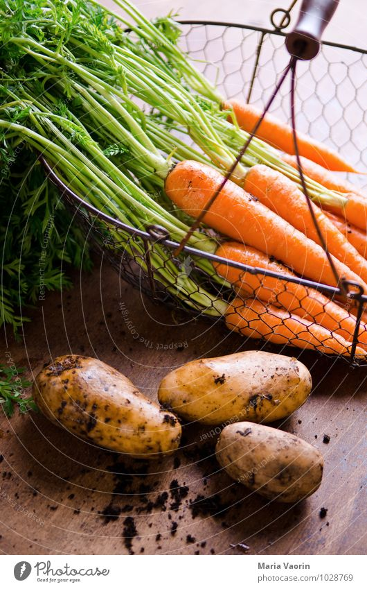 Garden vegetables 3 Food Vegetable Eating Organic produce Vegetarian diet Diet Healthy Healthy Eating Earth Fresh Delicious Natural Carrot Potatoes Wooden table