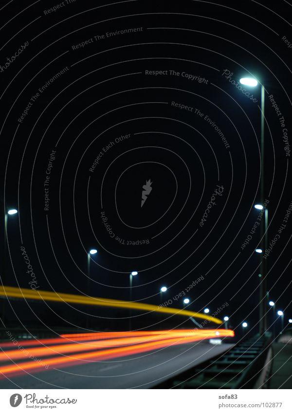 and bye-bye Night Lamp Driving Light Speed Dark Bridge Traffic infrastructure Long exposure Street Car Movement
