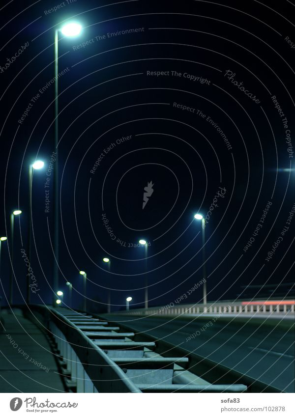 cursed Night Black Dark Lamp Light Lantern Bridge Traffic infrastructure Long exposure Street Blue Escape