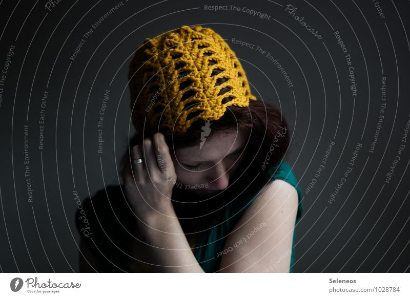 crocheted cap Body Hair and hairstyles Skin Face Handcrafts Crochet Human being Feminine Woman Adults 1 Ring Cap Warmth Soft Colour photo Interior shot Day