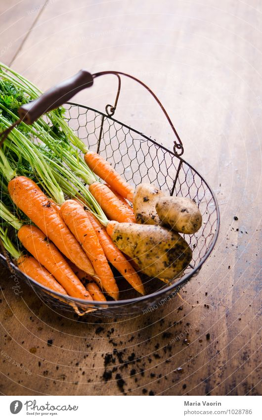 Healthy Food Dirty Earth Fresh Nutrition Kitchen Vegetable Delicious Organic produce Diet Vegetarian diet Basket Carrot Wooden table Potatoes