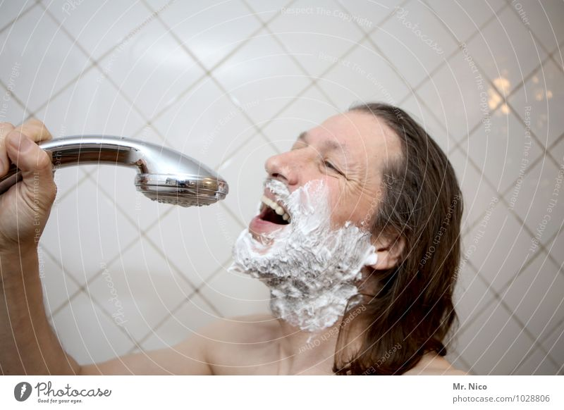 Man Naked Adults Face Masculine Skin Bathroom Personal hygiene Tile Facial expression Long-haired Microphone Beard Sing Take a shower Song