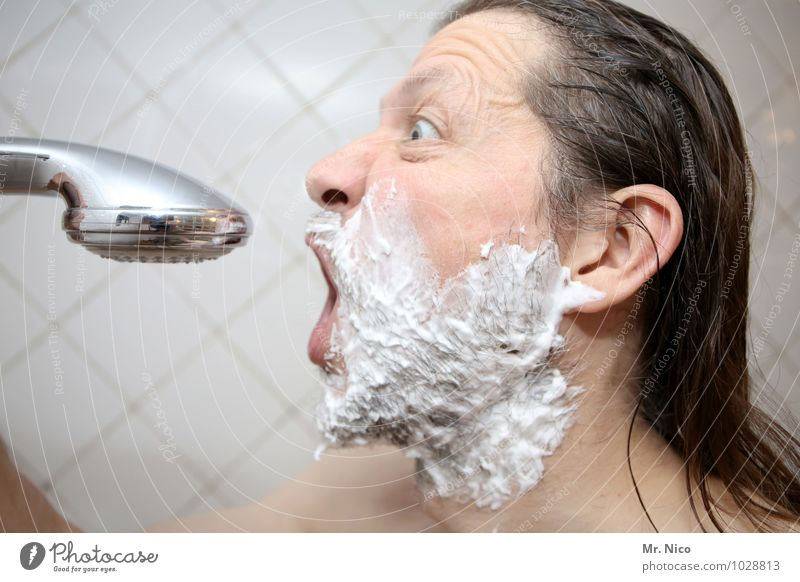 the voice of holland Bathroom Masculine Man Adults Face Long-haired Facial hair Designer stubble Beard Naked Clean Shower head Take a shower Shave Shaving cream