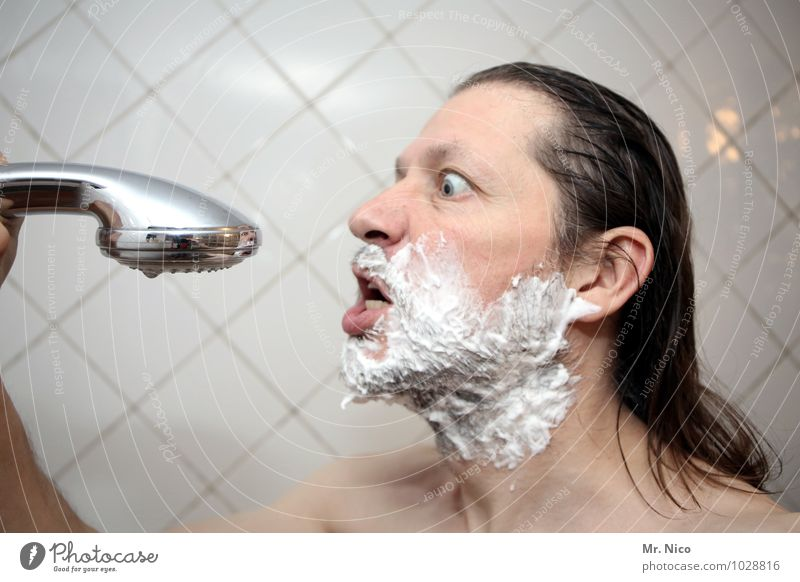 Man Naked Adults Face Eyes Emotions Hair and hairstyles Moody Masculine Living or residing Skin Bathroom Facial hair Personal hygiene Tile Facial expression