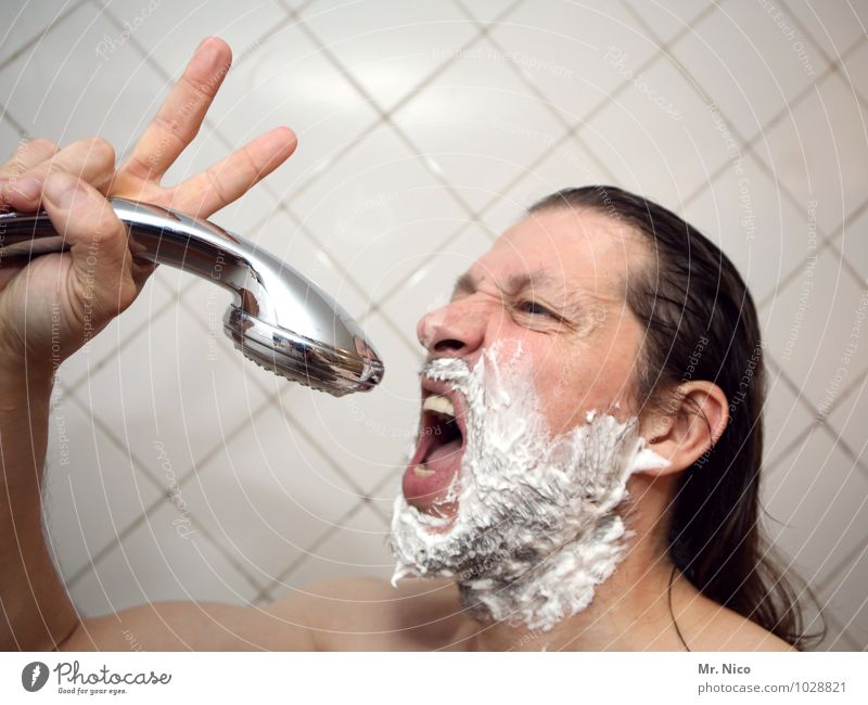 Man Naked Adults Face Hair and hairstyles Head Masculine Skin Fingers Bathroom Personal hygiene Tile Facial expression Long-haired Beard Sing