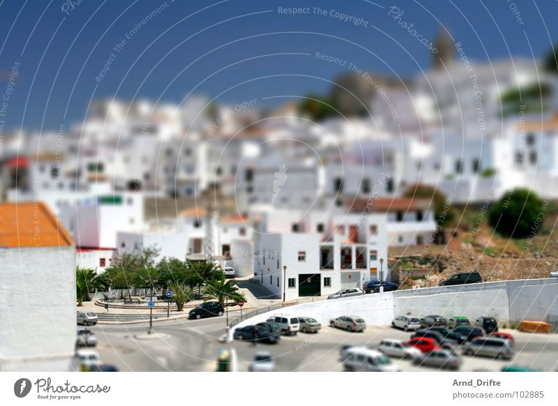 Sky Summer Street Car Landscape Small Europe Village Surrealism Miniature Spain Tilt-Shift Andalucia