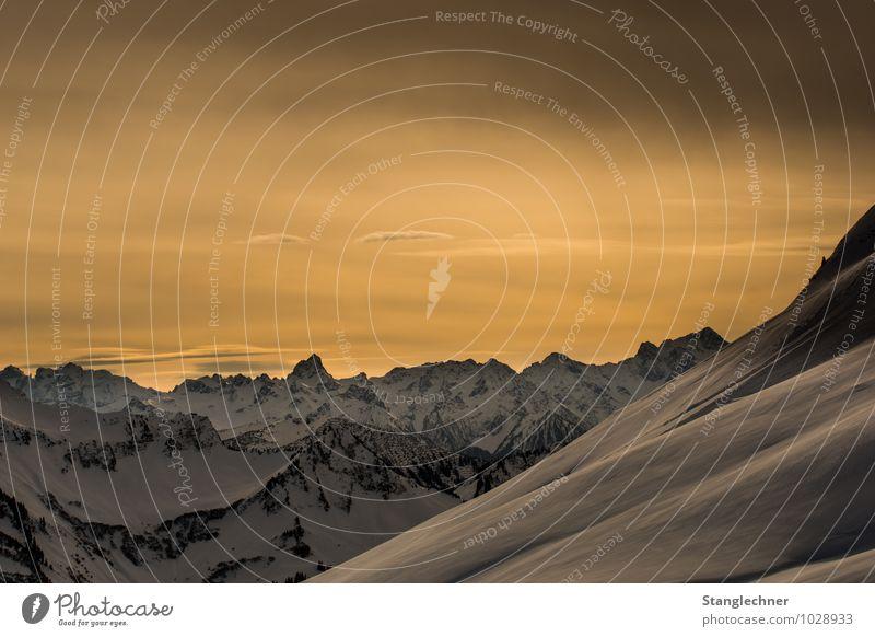 golden hour Environment Nature Landscape Sky Horizon Sunrise Sunset Sunlight Winter Climate change Beautiful weather Snow Rock Alps Mountain Peak