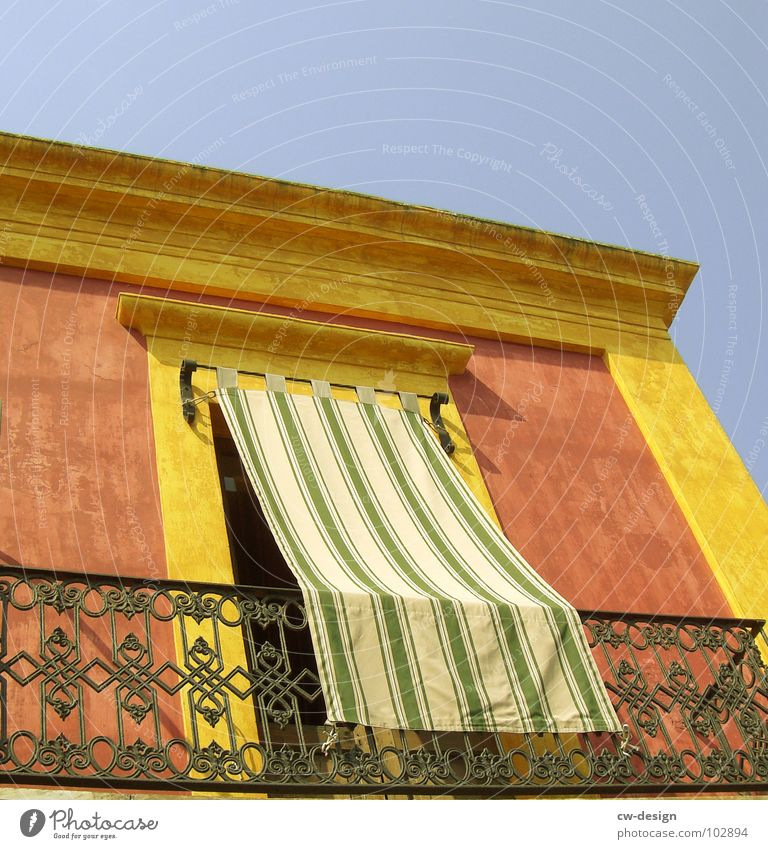 THOUSAND AND ONE NIGHTS Drape Curtain Gold border Balcony India Terrace Yellow Red Multicoloured Screening Cloth Stripe Striped Linearity Foreign countries