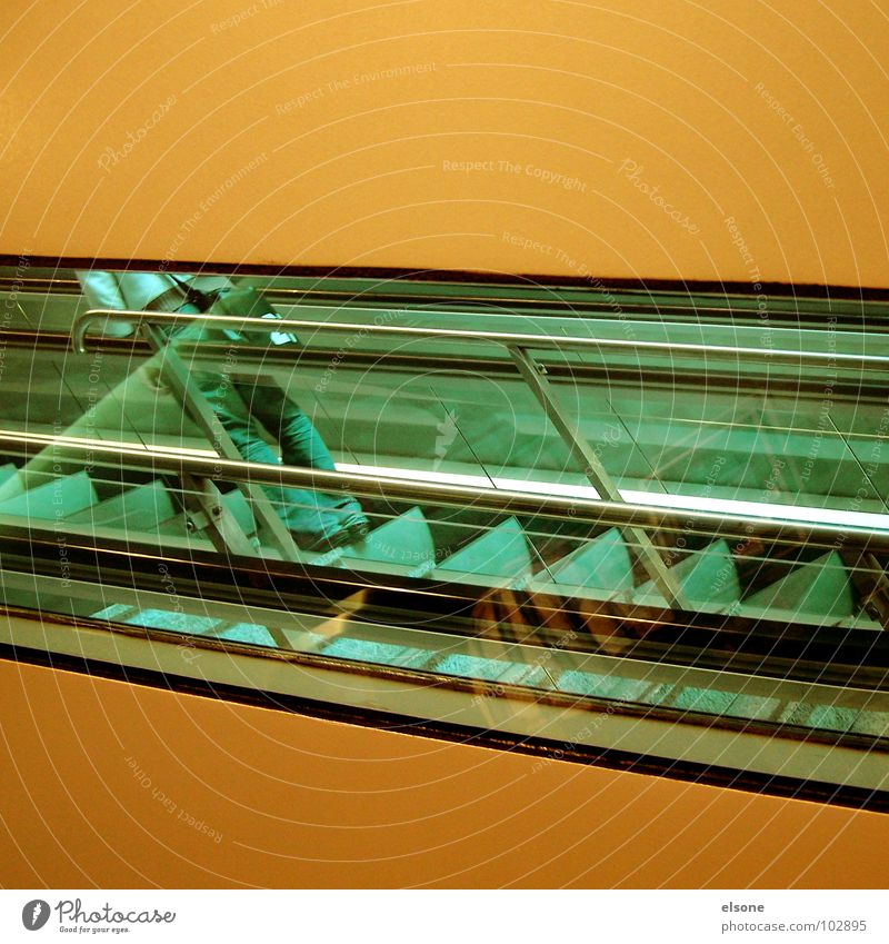 slanting position Green Graphic Wall (building) Mysterious Looking Escalator Dresden Financial institution Pushing Structures and shapes Square Services Modern