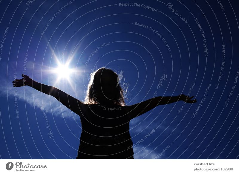 Human being Child Sky Youth (Young adults) Blue Hand Girl Sun Clouds Black Freedom Emotions Hair and hairstyles Arm Angel
