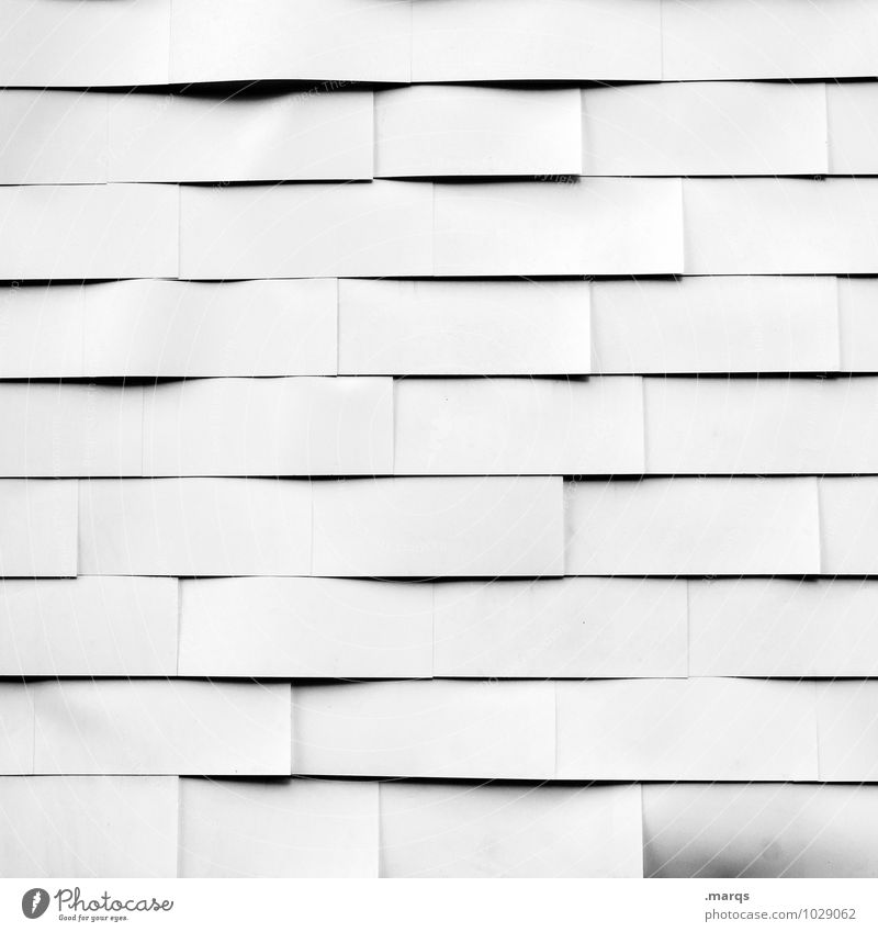 White as a wall Facade Line Simple Bright Arrangement Wall (building) Black & white photo Exterior shot Close-up Pattern Structures and shapes Deserted