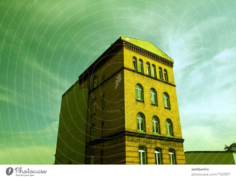 house House (Residential Structure) Office building Old building Story Facade Window Monolith Clouds Cirrus Architecture Berlin Might Sky