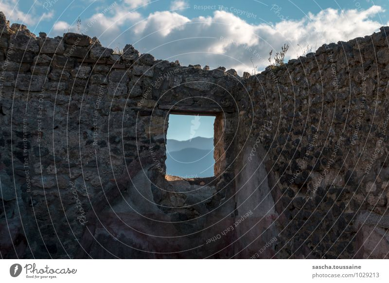 Picturesque view from Pompeii Architecture Culture Sky Clouds Hill Italy Europe Town Deserted Ruin Building Wall (barrier) Wall (building) Window