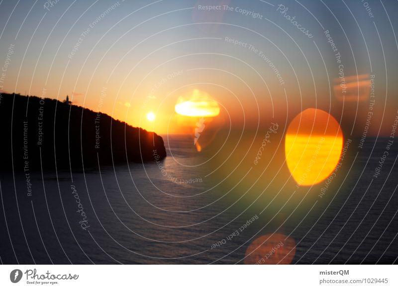 Spanish Light. Environment Nature Landscape Esthetic Contentment Sunset Spain Majorca Island Ocean Sunlight Glare effect Waves Bay Romance Vacation & Travel