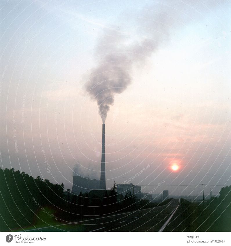 Environment Clouds Environmental pollution Acid rain Industry Dirty Smoke Smoke cloud Sky Chimney Exhaust gas column of smoke Electricity generating station